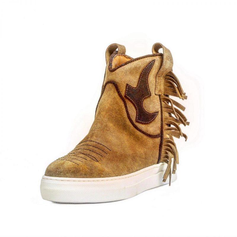 Texano Sneakers in pelle con Zeppa Interna di 4 cm colore cammellot.moro