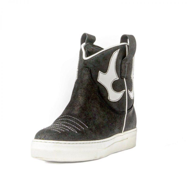 Texano Sneakers in pelle con Zeppa Interna di 4 cm colore nerobianco